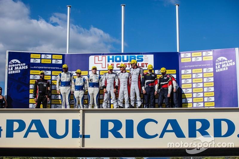 Podium: race winners Simon Dolan, Filipe Albuquerque, Harry Tincknell, second place Gary Hirsch, Bjo