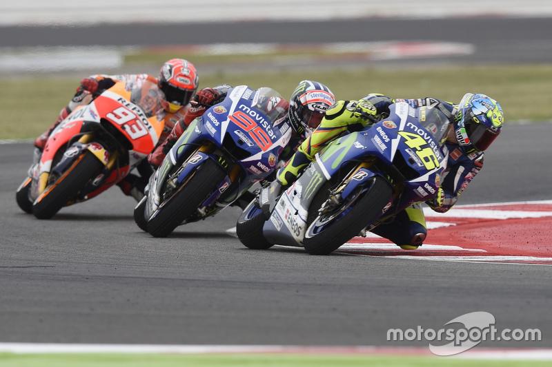 Valentino Rossi und Jorge Lorenzo, Yamaha Factory Racing, mit Marc Marquez, Repsol Honda Team