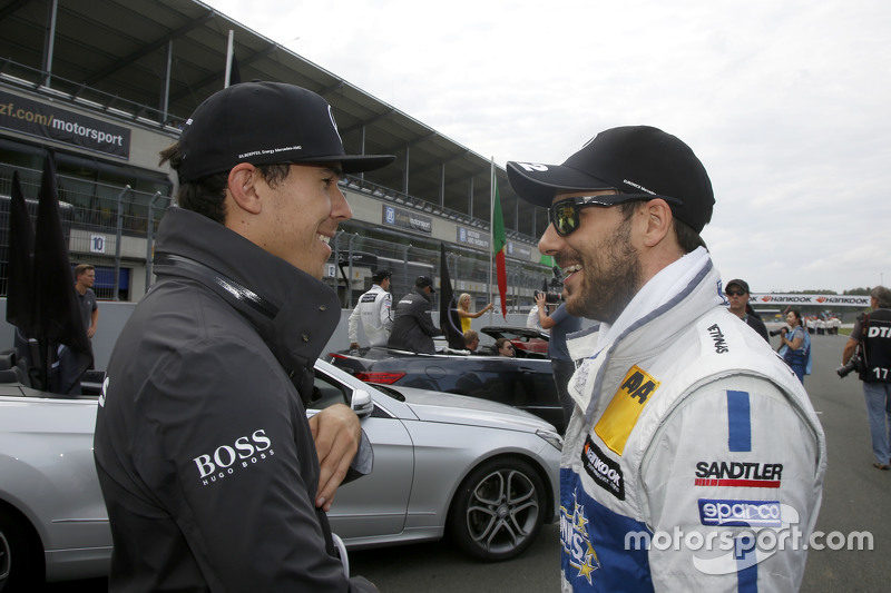 Robert Wickens, HWA AG Mercedes-AMG C63 DTM and Gary Paffett, ART Grand Prix Mercedes-AMG C63 DTM