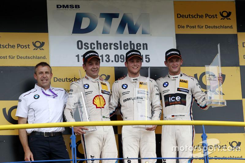 Podium: Bart Mampaey, BMW Team RBM; 2. Augusto Farfus, BMW Team RBM, BMW M4 DTM; 1. Tom Blomqvist, B