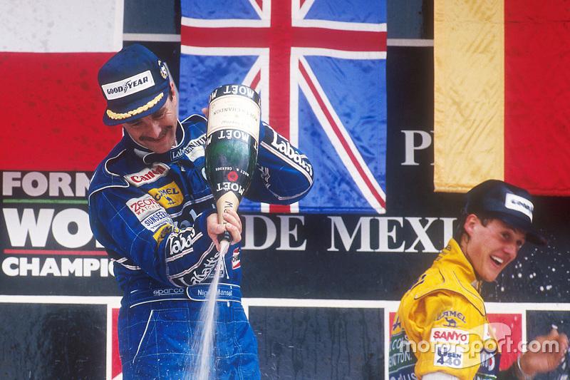 Podium : Nigel Mansell et Michael Schumacher