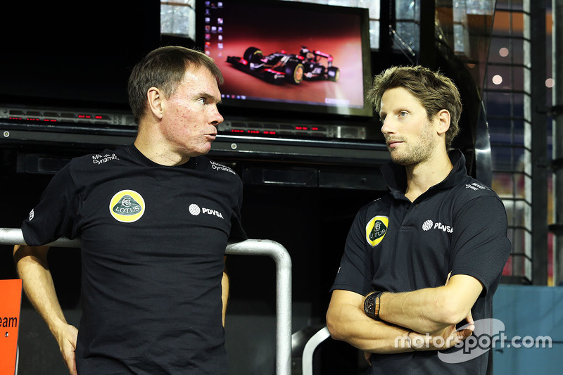 Alan Permane, Lotus F1 Team, Leiter Rennoperation, mit Romain Grosjean, Lotus F1 Team