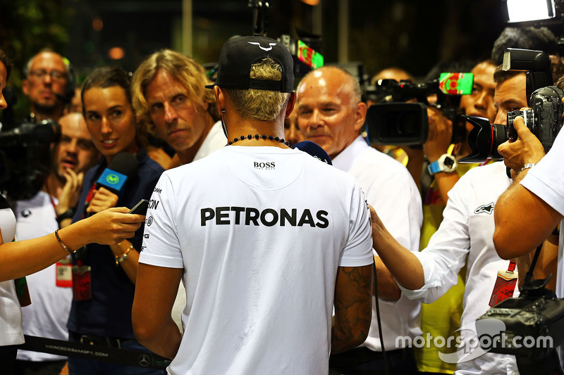 Lewis Hamilton, Mercedes AMG F1 Team with the media