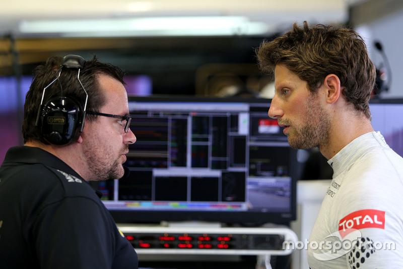 Julien Simon-Chautemps, engenheiro de Romain Grosjean, Lotus F1 Team e Romain Grosjean, Lotus F1 Team