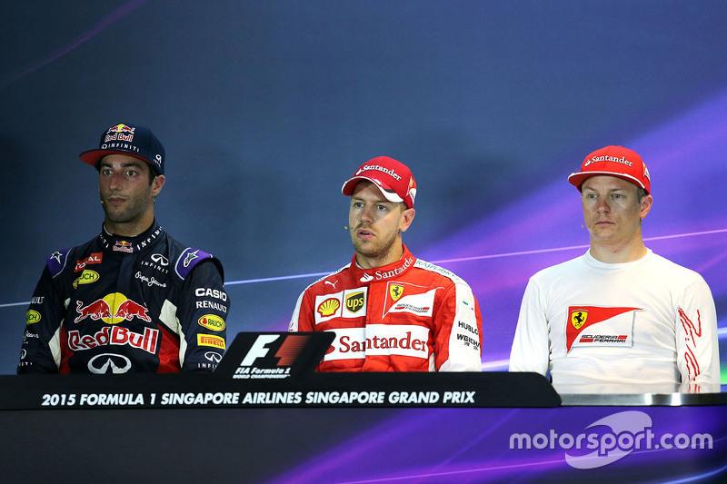 Pressekonferenz: Polesitter Sebastian Vettel, Ferrari, 2. Daniel Ricciardo, Red Bull Racing, 3. Kimi