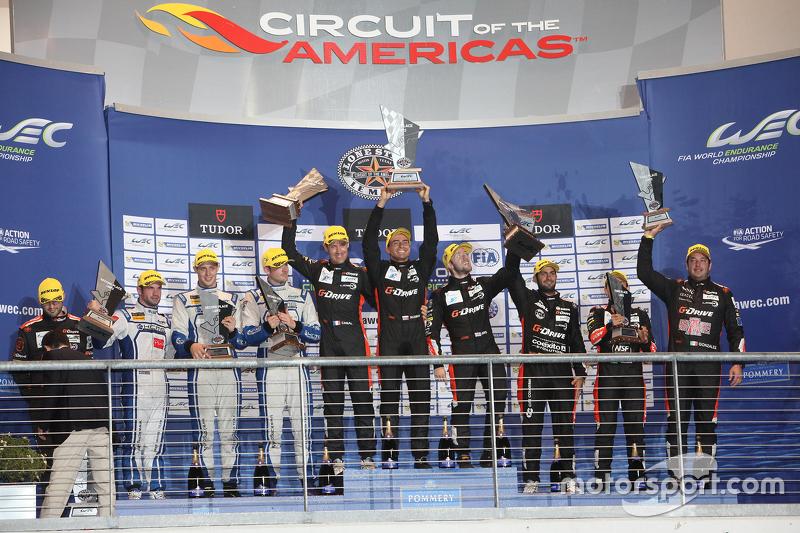 LMP2 Podium: 1. Roman Rusinov, Julien Canal, Sam Bird, G-Drive Racing; 2. Matthew Howson, Richard Br