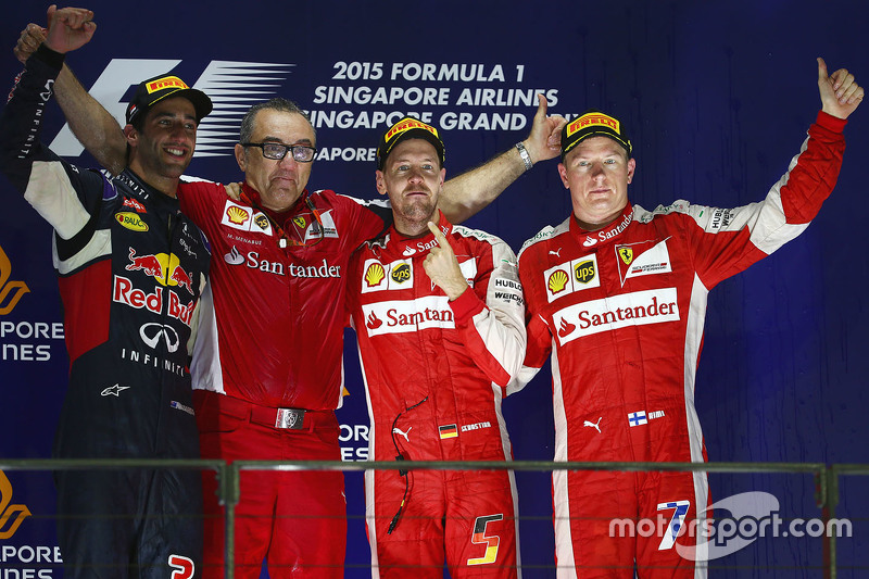 Podium: winner Sebastian Vettel, Ferrari, second place Daniel Ricciardo, Red Bull Racing, third plac