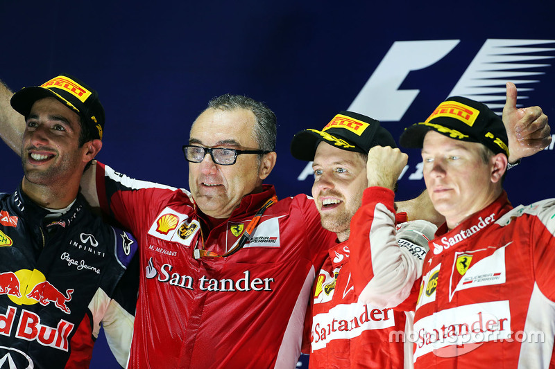 Podium: winner Sebastian Vettel, Ferrari, second place Daniel Ricciardo, Red Bull Racing, third plac