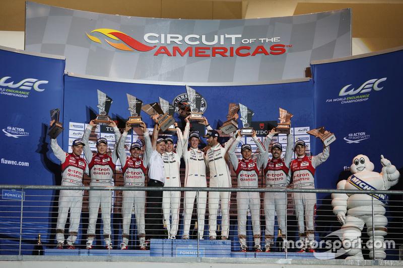 Podium: 1. Timo Bernhard, Mark Webber, Brendon Hartley, Porsche Team; 2. Marcel Fässler, Andre Lotterer, Benoit Tréluyer, Audi Sport Team Joest; 3. Lucas di Grassi, Loic Duval, Oliver Jarvis, Audi Sport Team Joest