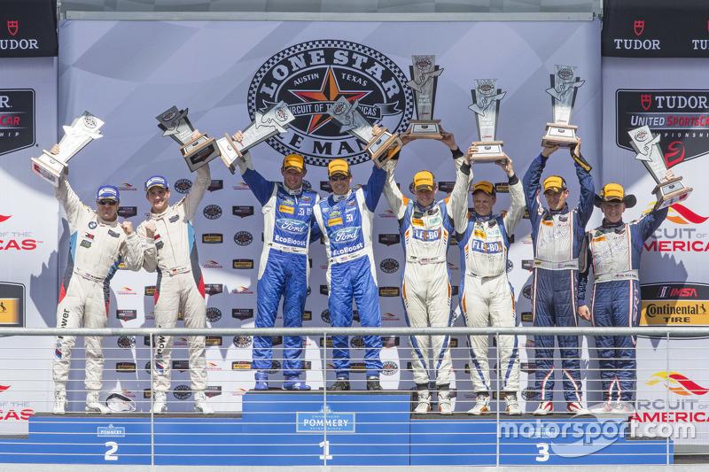 Overall podiums: P winners #01 Chip Ganassi Racing Ford/Riley: Scott Pruett, Joey Hand, PC winners #