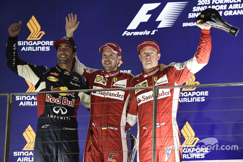 Podium: race winner Sebastian Vettel, Ferrari, second place Daniel Ricciardo, Red Bull Racing, third place Kimi Raikkonen, Ferrari