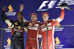 Sebastian Vettel, Ferrari; Daniel Ricciardo, Red Bull Racing; Kimi Räikkönen, Ferrari