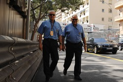 Charlie Whiting, FIA Safty delegate, Race director and offical starter and Pat Behar, FIA, Photographers delegate