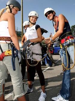 Formula Unas girls in a mountain climbing expedition: Rebecca Blomgren, Katja Semenova and Tahmee Frijters