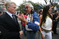 Max Mosley, FIA President, Flavio Briatore, Renault F1 Team, Team Chief, Managing Director and his Fiancee, Elisabetta Gregoraci, Lingerie Model