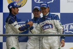 LMP2 podium: second place Adrian Fernandez, Haruki Kurosawa, Robbie Kerr