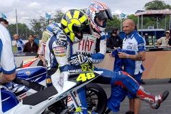Polesitter Colin Edwards and Valentino Rossi celebrate