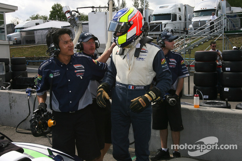 Provisional pole winner Tristan Gommendy celebrates with this team