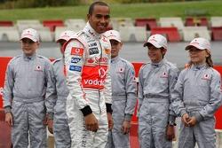 Lewis Hamilton, McLaren Mercedes meets young karters, Vodafone Karting Event