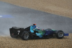 Jenson Button, Honda Racing F1 Team, RA107, spun and crashed after a torrential downpour