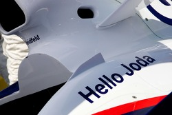 A message on the car of Nick Heidfeld, BMW Sauber F1 Team for his new born son Joda