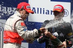 1. Fernando Alonso, McLaren; 3. Mark Webber, Red Bull Racing