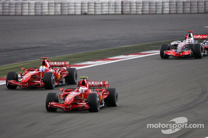 Kimi Raikkonen, Scuderia Ferrari, Felipe Massa, Scuderia Ferrari, Fernando Alonso, McLaren Mercedes