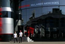 Fernando Alonso, McLaren Mercedes walks out of the McLaren Mercedes motorhome