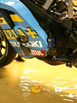 A rubber ducky under the Rizla Suzuki