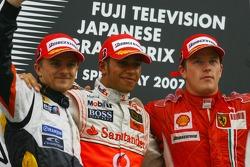 Podium: Sieger Lewis Hamilton, 2. Heikki Kovalainen, 3. Kimi Räikkönen