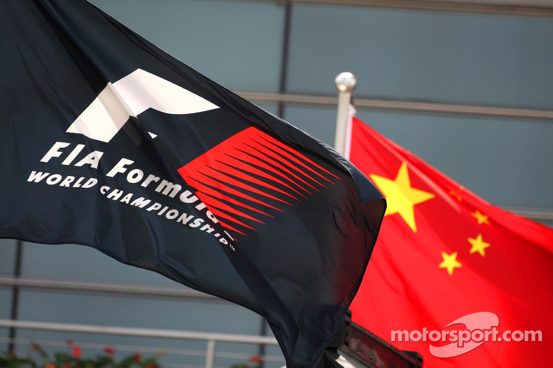F1 Flag and Chinese national flag in the paddock