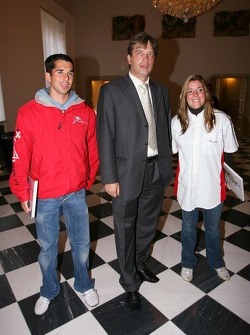 Neel Jani, driver of A1 Team Switzerland, Natasha Gachnang, driver of A1 Team Switzerland and the mayor of Brno