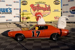The Bojangle's car sit in Victory Lane