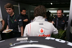 Fernando Alonso, McLaren Mercedes talking with RedBull Racing people