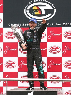 Championship podium: FIA GT1 drivers 2007 champion Thomas Biagi celebrates