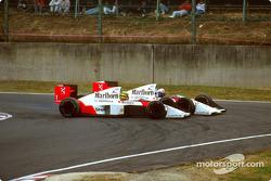 infamous kaza, Ayrton Senna ve Alain Prost, lap 46