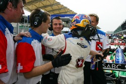 Pole winner Neel Jani celebrates