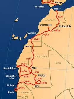 Overall technical map: 15 stages, from 2008-01-05 to 2008-01-20, Lisboa to Dakar