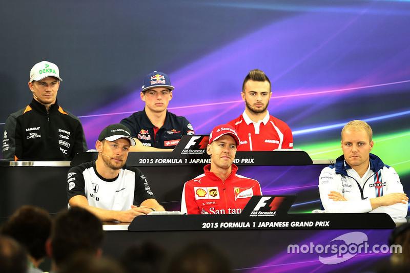 Coletiva de imprensa, Jenson Button, McLaren, Sebastian Vettel, Scuderia Ferrari, Valtteri Bottas, W