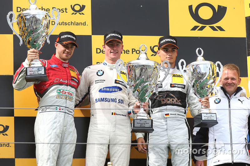 Podium: winner Maxime Martin, BMW Team RMG, second place Edoardo Mortara, Audi Sport Team Abt, third place Pascal Wehrlein, HWA AG Mercedes-AMG