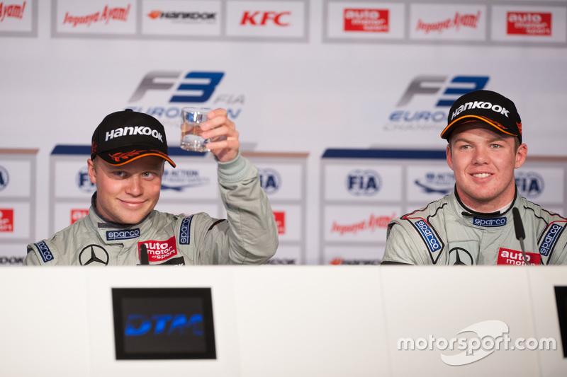 Post-race press conference: winner Felix Rosenqvist, Prema Powerteam, third place Nick Cassidy, Prem