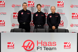 Haas F1 Team's Gunther Steiner, Romain Grosjean and Gene Haas