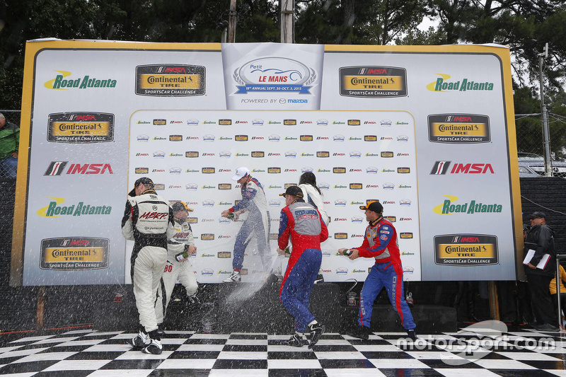 Podium: GS race winners #46 Fall-Line Motorsports BMW M3: Trent Hindman, Ashley Freiberg, second pla