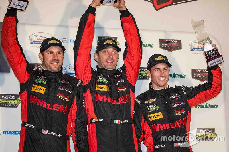 P podium: third place Eric Curran, Dane Cameron, Max Papis