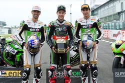 Kenan Sofuoglu, Kawasaki Puccetti Racing; Jonathan Rea, Kawasaki Racing Team; Toprak Razgatlioglu, Kawasaki Puccetti Racing