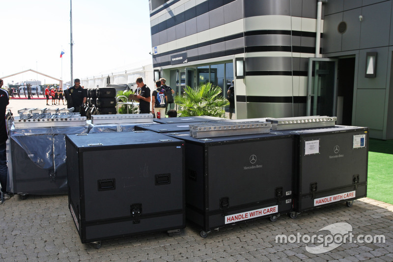 Mercedes AMG F1 freight in the paddock