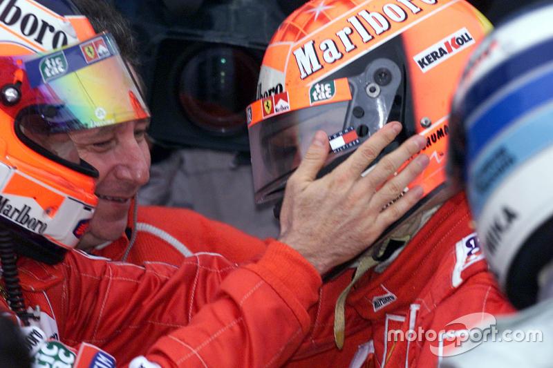Race winner and 2000 World Champion Michael Schumacher, Ferrari with Rubens Barrichello