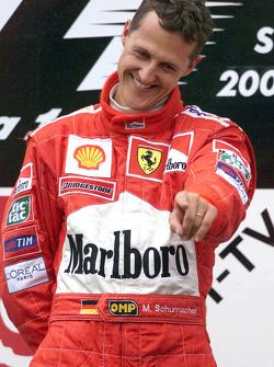 Il vincitore della gara e Campione del Mondo 2000 Michael Schumacher, Ferrari