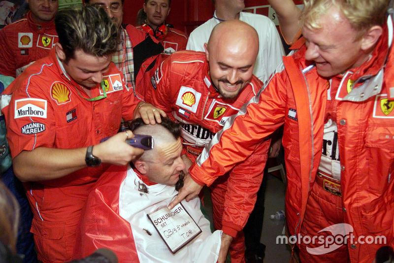 Ferrari team celebrates 2000 World Drivers Championship