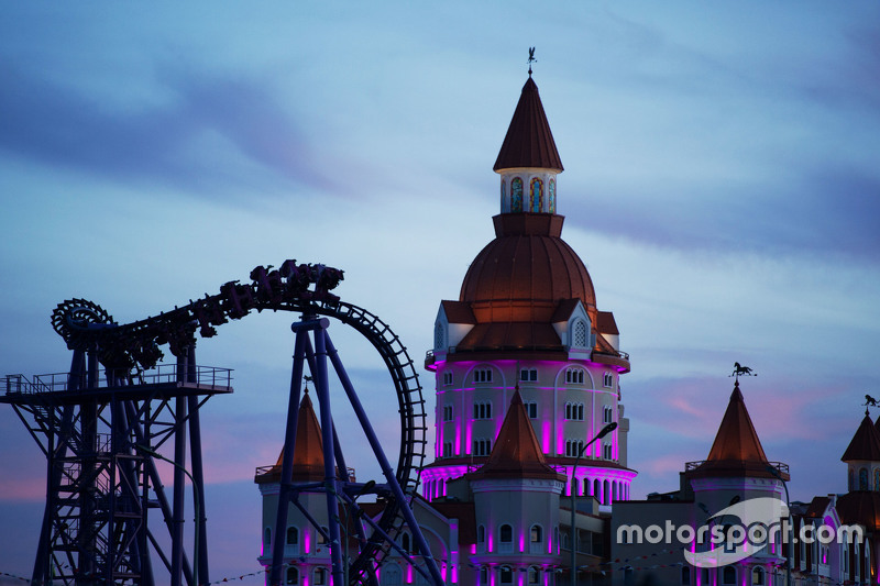 A roller coaster and theme park